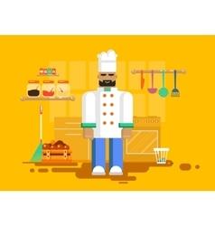 chef in uniform kitchen utensils furniture vector image