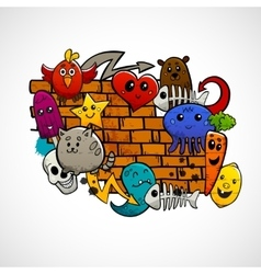 Graffiti Characters Flat Color Concept vector image