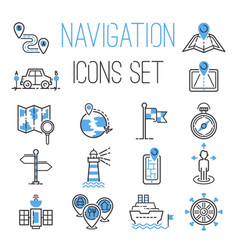 navigation outline black location pin pictogram vector image
