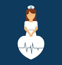 nurse heartbeat pulse care vector image