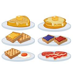 breakfast menu on the plates vector image
