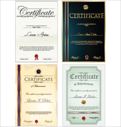 Certificate template set vector image vector image