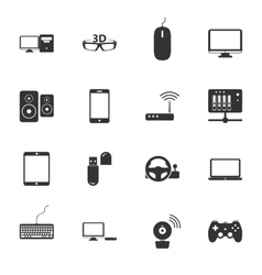 Computers peripherals and network devices black vector image vector image