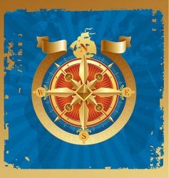 golden compass rose vector image