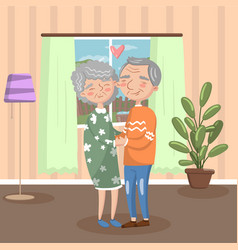 happy senior couple in love holding each other vector image