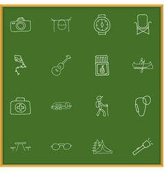 set of 16 editable travel doodles includes vector image vector image