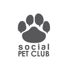 social pet club paw concept design template vector image