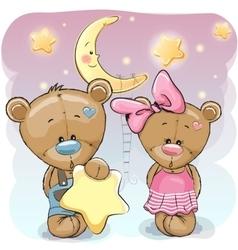 Teddy Bear Girl and Boy with a star vector image