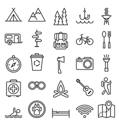 Big set linear icon camping and tourism vector image