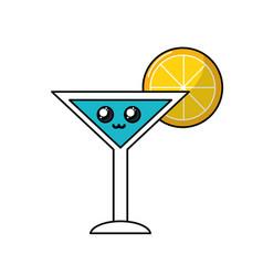 Kawaii cute tender cocktail emoji beverage vector
