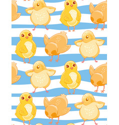 Seamless pattern with cute cartoon yellow chicken vector