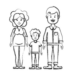 silhouette couple with their son icon vector image