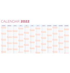 2022 calendar planner template with vertical vector
