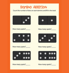 A math domino addition worksheet vector
