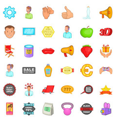 Advertising for sale icons set cartoon style vector