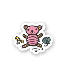 Amigurumi handmade sticker vector