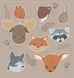 animals sticker set vector image