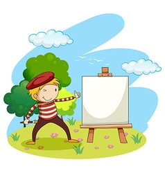 Artist painting on canvas vector
