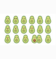 avocado cute kawaii mascot set kawaii food faces vector image