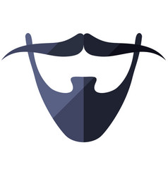 Beard flat icon with hipster mustache vector