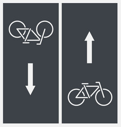 Bike path and bicycle symbol on asphalt vector