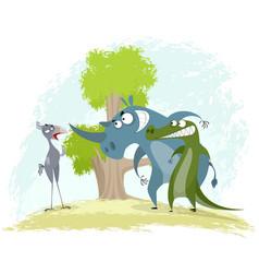 Bird secretary rhino and crocodile vector