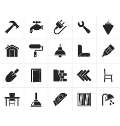 Black Building and home renovation icons vector