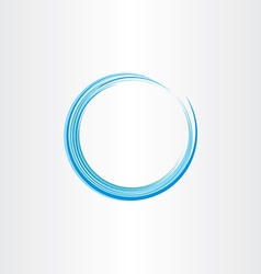 blue water wave circle design element vector image