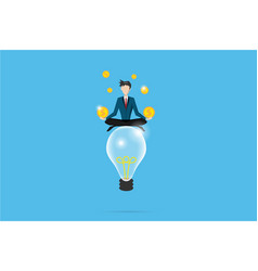 Businessman meditating with coins on lightbulb vector