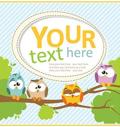 Card with cartoon owls vector image