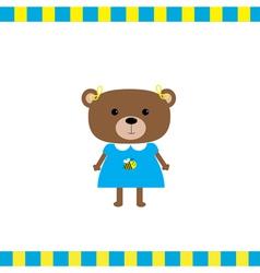 Cartoon bear girl card vector