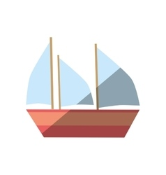 Cartoon boat ship vacation beach vector