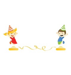 Children jump party vector image