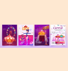 Circus show placards set amusement park banners vector