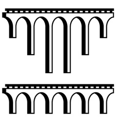 classical viaduct bridge black symbol vector image