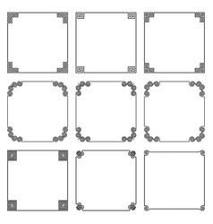 Collection of simple square frame with elements vector