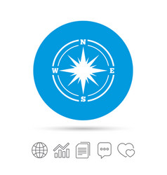 compass sign icon windrose navigation symbol vector image