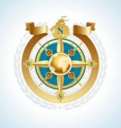 Compass with globe and ribbon vector