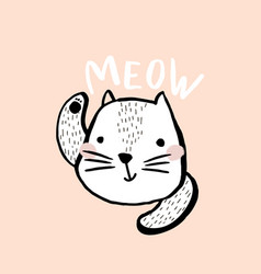 Cute cat with text meow hand drawn vector