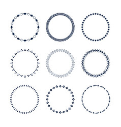 cute dark blue circle pattern emblems set vector image