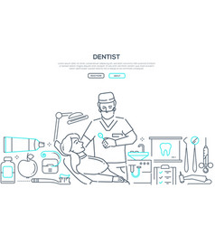 dentist at work - modern line design style web vector image