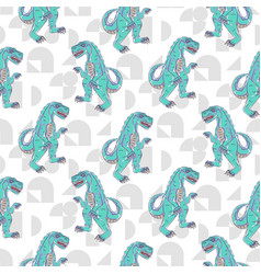 Dino monster boy seamless pattern vector