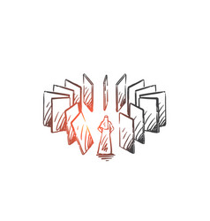 Domino effect karma concept sketch hand drawn vector