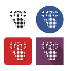 dotted icon fingerprint scanning in four vector image