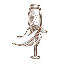 Elegant glass full of champagne in female hand vector