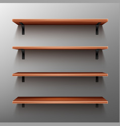 empty wooden shelves on gray wall vector image