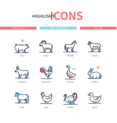 Farm animals collection - line design style icons vector
