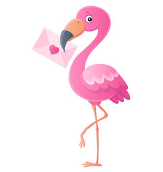 flamingo with love letter topic 1 vector image