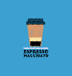 Flat icon design collection espresso macchiato to vector