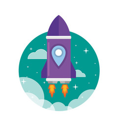 flat purple rocket ship launched to the space vector image